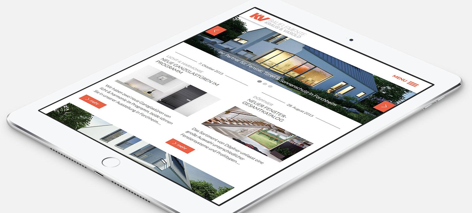 Webdesign für KV Bauelemente in Forchheim