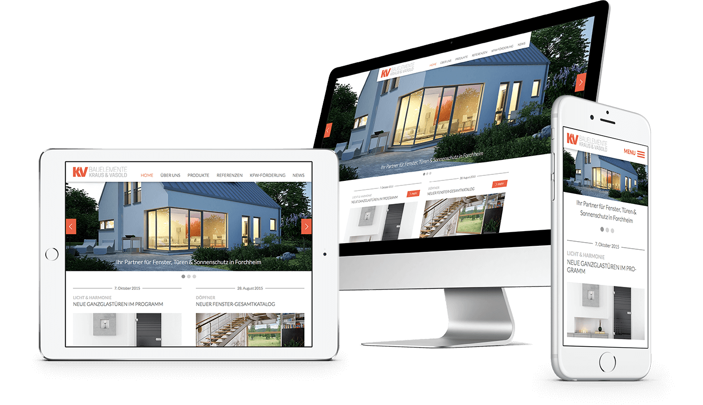 Webdesign und Webentwicklung für KV Bauelemente in Forchheim