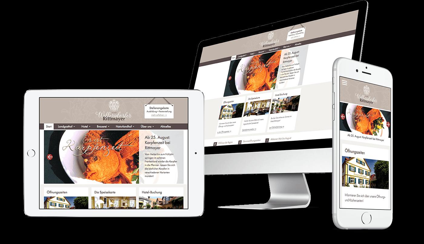 Webdesign und Webentwicklung für Landgasthof Rittmayer in Willersdorf