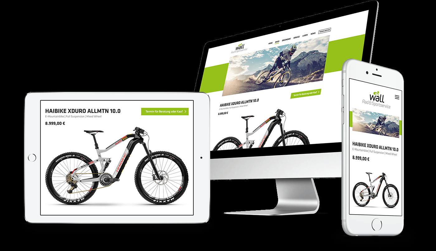 Webdesign und Webentwicklung für Radsport Wall in Wenzenbach bei Regensburg