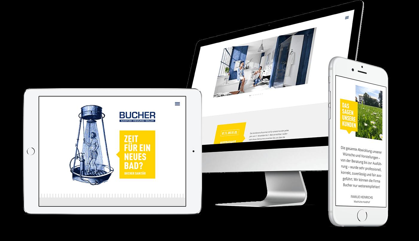 Webdesign und Webentwicklung für Bucher GmbH in Zeitlarn