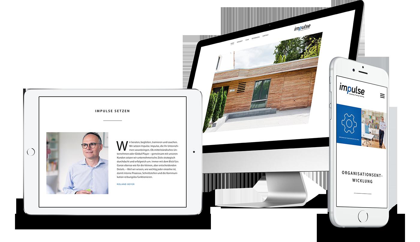 Webdesign und Webentwicklung für impulse consulting in Regensburg