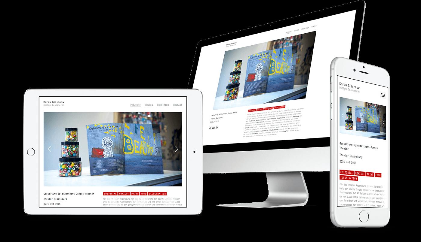 Webdesign und Webentwicklung für Karen Giesenow aus Regensburg