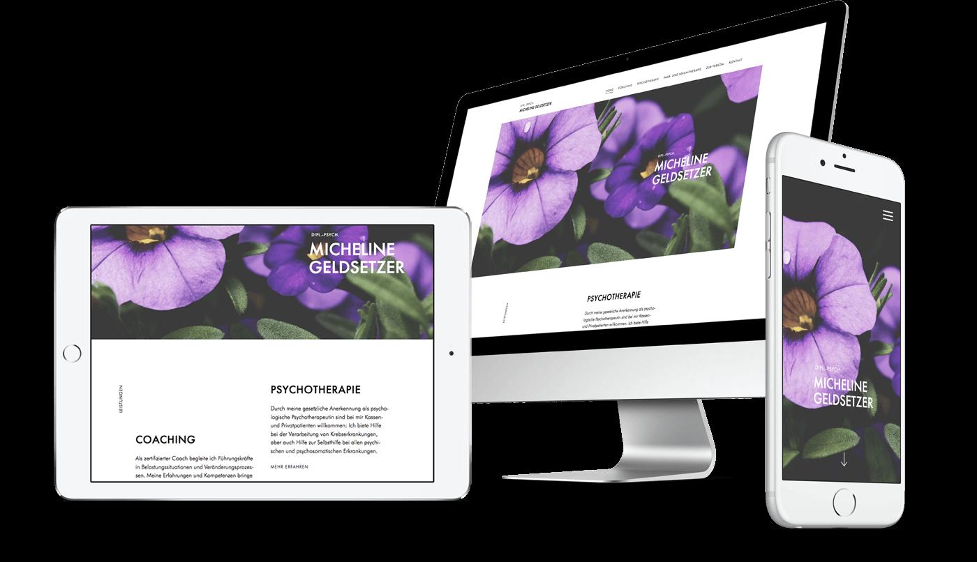 Webdesign und Webentwicklung für Dipl.-Psych. Micheline Geldsetzer aus Regensburg